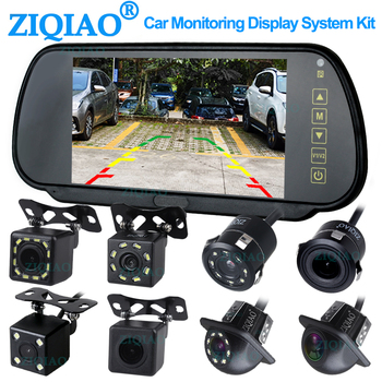 ZIQIAO 7 Inch LCD Reverse Rear View Monitor System with TFT LCD Mirror Monitor Dynamic Guide Line Parking Backup Camera Optional anshilong 4 3 lcd car rear view interior replacement mirror monitor with reverse backup parking camera system kit oem bracket
