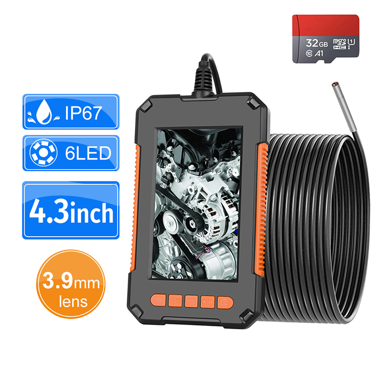 3 9mm Industrial Endoscope Camera 1080P HD 4 3        IPS Screen Pipe Drain Sewer Duct Inspection Camera IP67 Snake Camera WIth 32GB