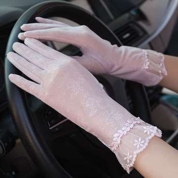 Sexy Summer Women UV Sunscreen Short Sun Female Gloves Fashion Ice Silk Lace Driving Of Thin Touch Screen Lady Gloves