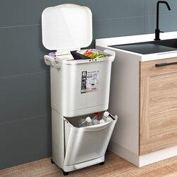45L البلاستيك طبقات مزدوجة كبيرة حاوية القمامة صناديق المطبخ فرز النفايات مزدوجة سطح السفينة غطاء تصنيف سلة المهملات تخزين دلو
