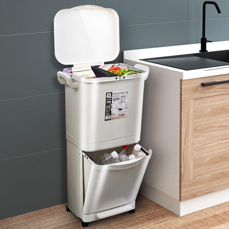 Poubelle plastique à Double couche 45L | Grandes poubelles de cuisine, bacs de tri des déchets, couvercle à Double pont, seau de stockage de poubelles classifié
