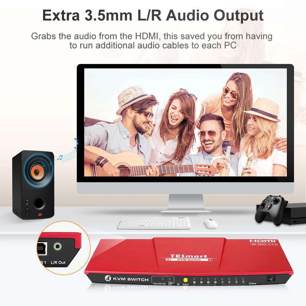 Купить с кэшбэком KVM Switch HDMI 4K@60Hz Ultra HD High Quality USB KVM Switcher 4 Port PCs Sharing 4 Devices Support HDR 10 and Dolby Vision