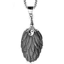 Tai Chi Bagua Yin Yang Feather Pendant Necklace Stainless Steel Zhuge Liang Feather Fan Men and Women Necklace Jewelry недорого