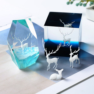 3Pcs 3D three-dimensional forest micro-landscape accessories crystal epoxy glue DIY filler decoration elk fairy deer model
