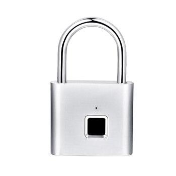 QZT Electric Fingerprint Lock Biometric Smart Home Door Lock USB Charging Digital Security Door Lock Small Fingerprint Padlock 8