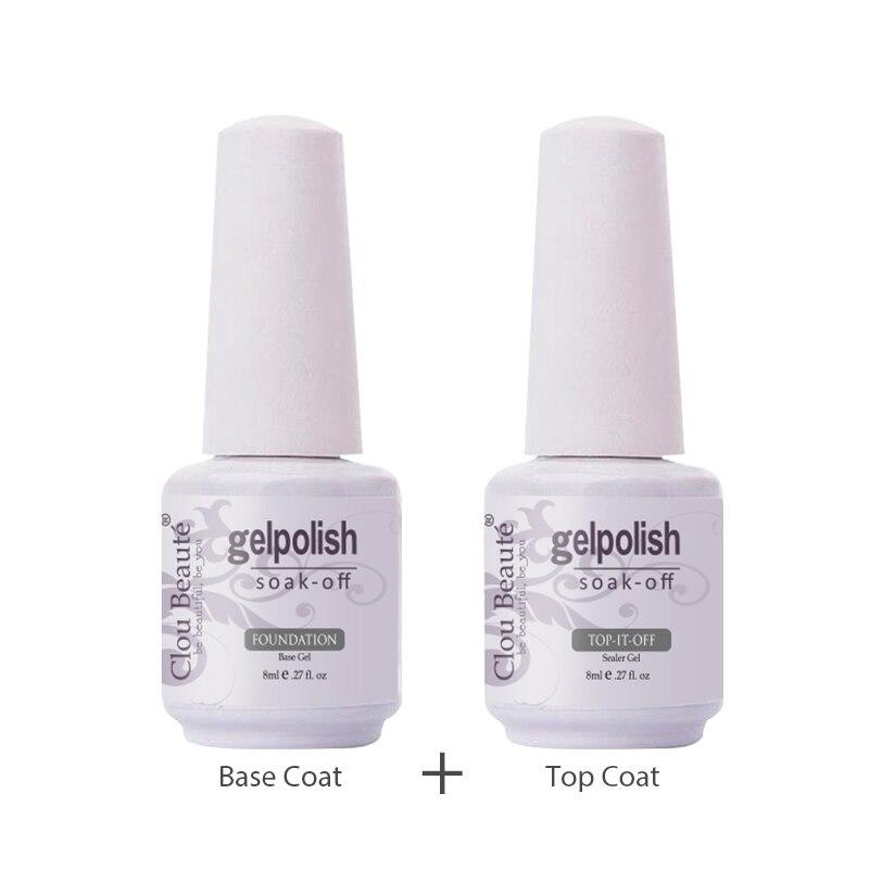 Clou Beaute Base Coat Top Coat UV Gel Nail Polish 8ml Transaprent Color Bling Gel Polish Nail Art Gel Lacquer Lucky Nail Paint(China)