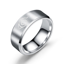 2021 New  Konoha Sign 316L Stainless Steel Ring Black Finger RingsTitanium Steel for Men Women Wholesale Christmas Gifts