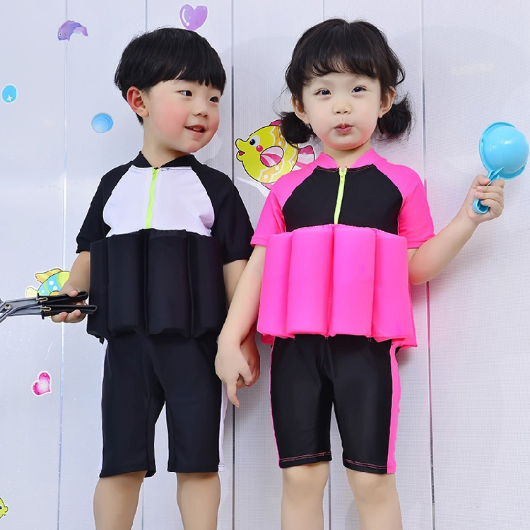 Korean-style Buoyancy Bathing Suit Children Quick-Dry Short Sleeve One-piece Life Jacket Men And Women Children Baby Auxiliary T