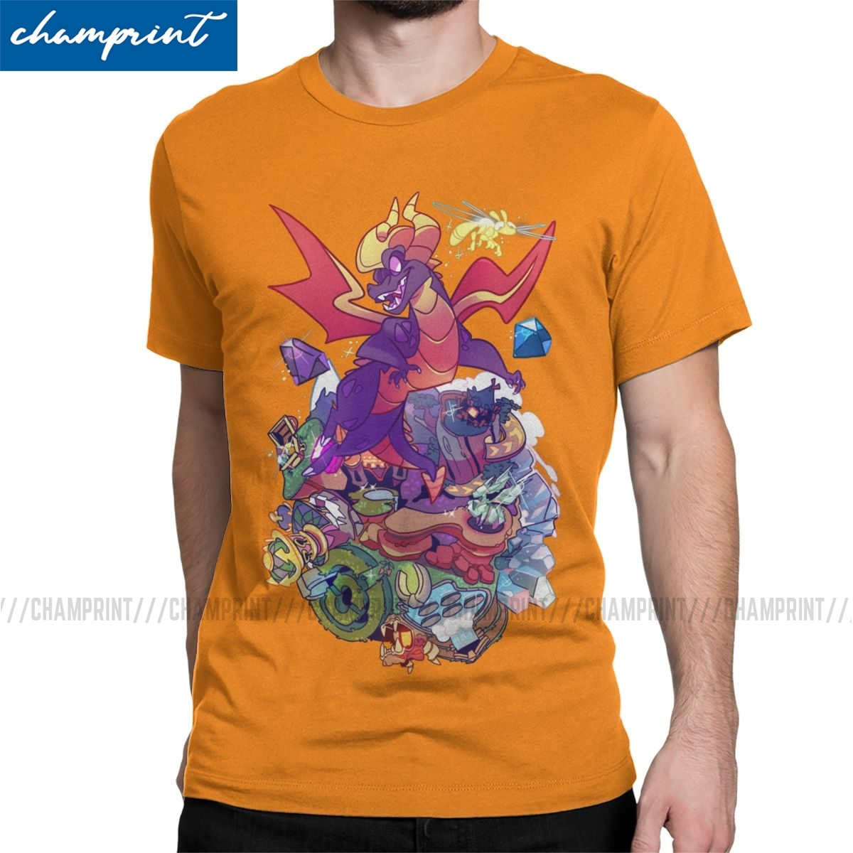 This Little Punk Men T Shirt Spyro the Dragon Purple Dragon Game Humor Tees Crew Neck T-Shirt 100% Cotton Printing Clothes image