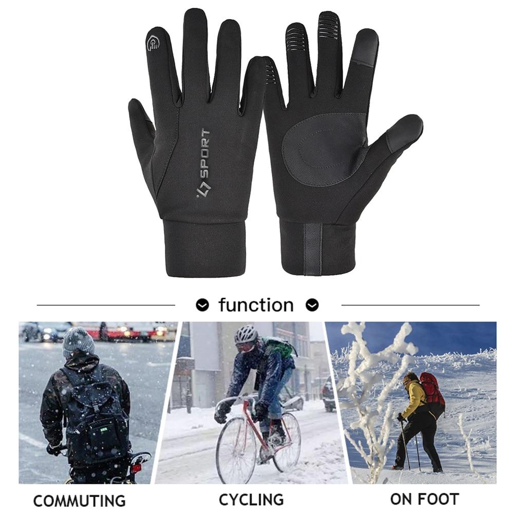 Теплые перчатки с сенсорным экраном, велосипедные перчатки для женщин и мужчин, водонепроницаемые флисовые перчатки для улицы, для езды на ...
