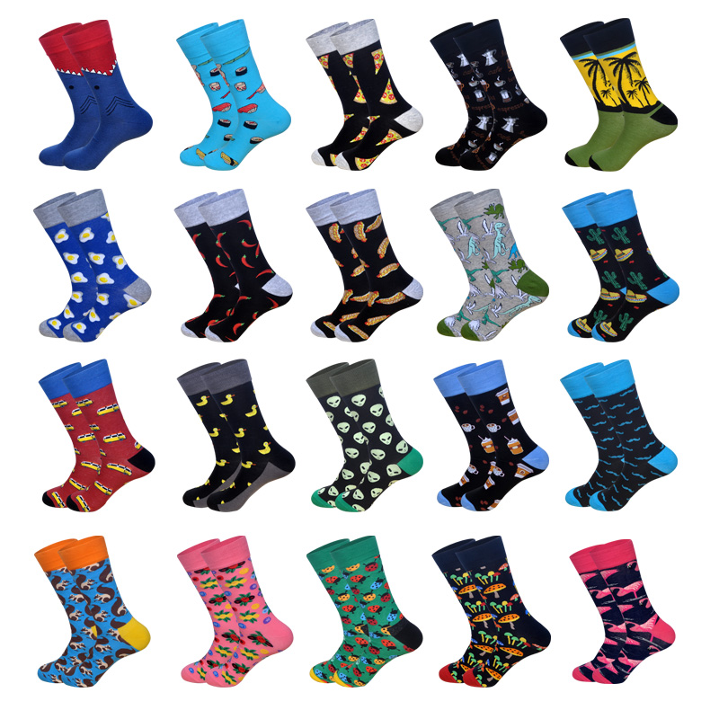 LIONZONE 2019 Newly Happy Socks For Men British Casual Eur40-46 Personality Streetwear High Quality Cotton Sock Gifts For Men