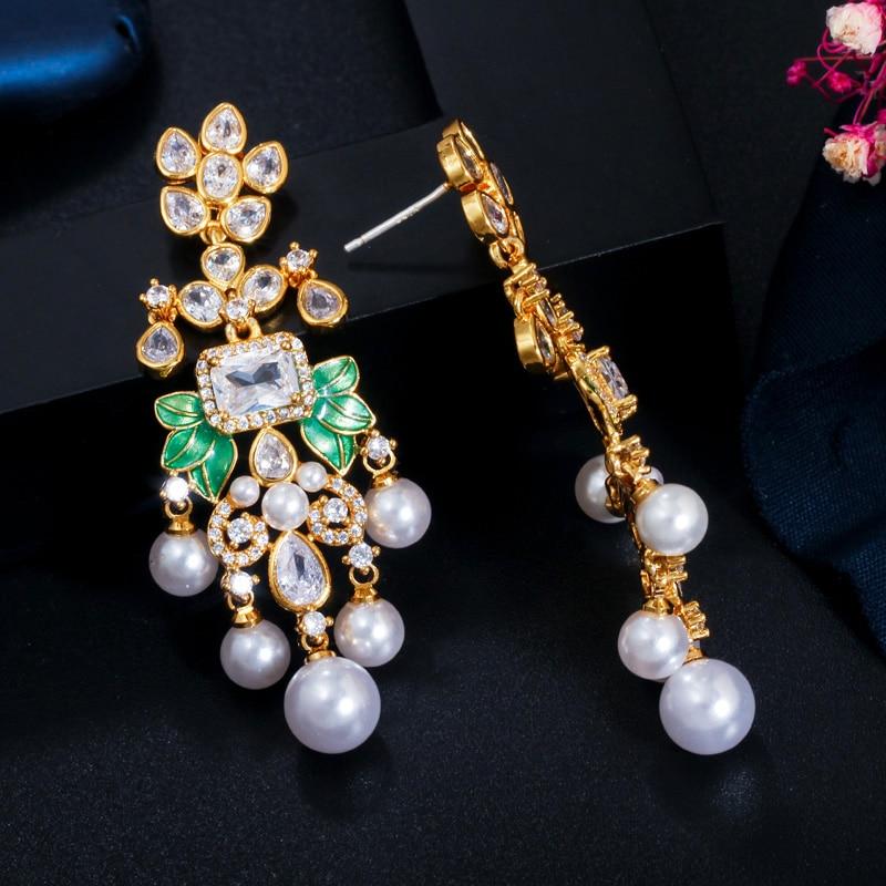 Image 5 - CWWZircons Flowers Cubic Zircon CZ Long Dangle Pearl Earrings for Women African Bridal Earring aretes de mujer modernos CZ656Drop Earrings   -