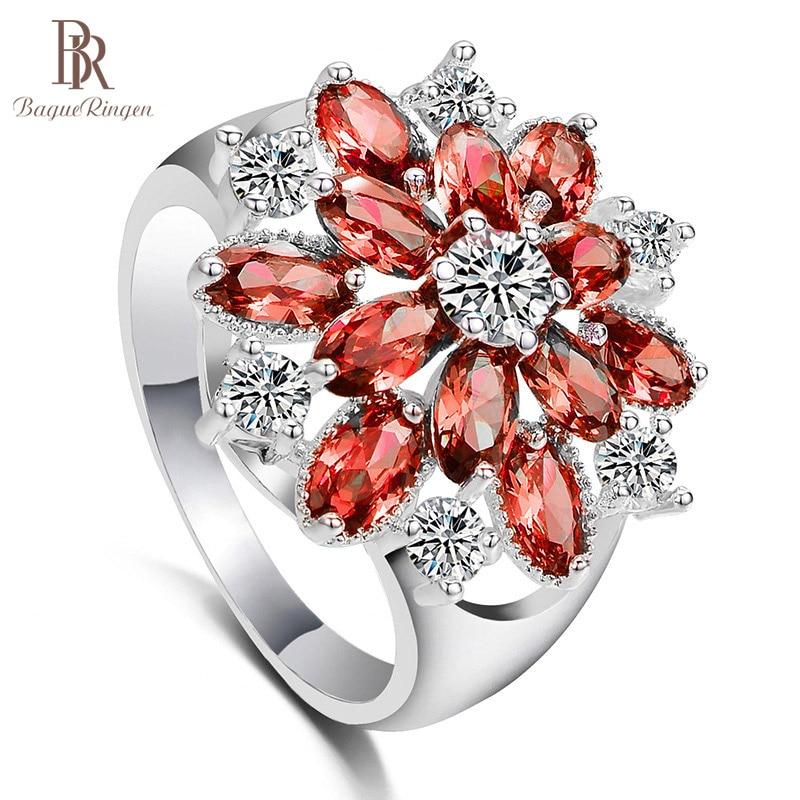 Bague Ringen 925 Sterling Silver Women Ring Flower Shape Zircon Oval Gemstone Women Party Silver Jewelry Gift Size 6-10