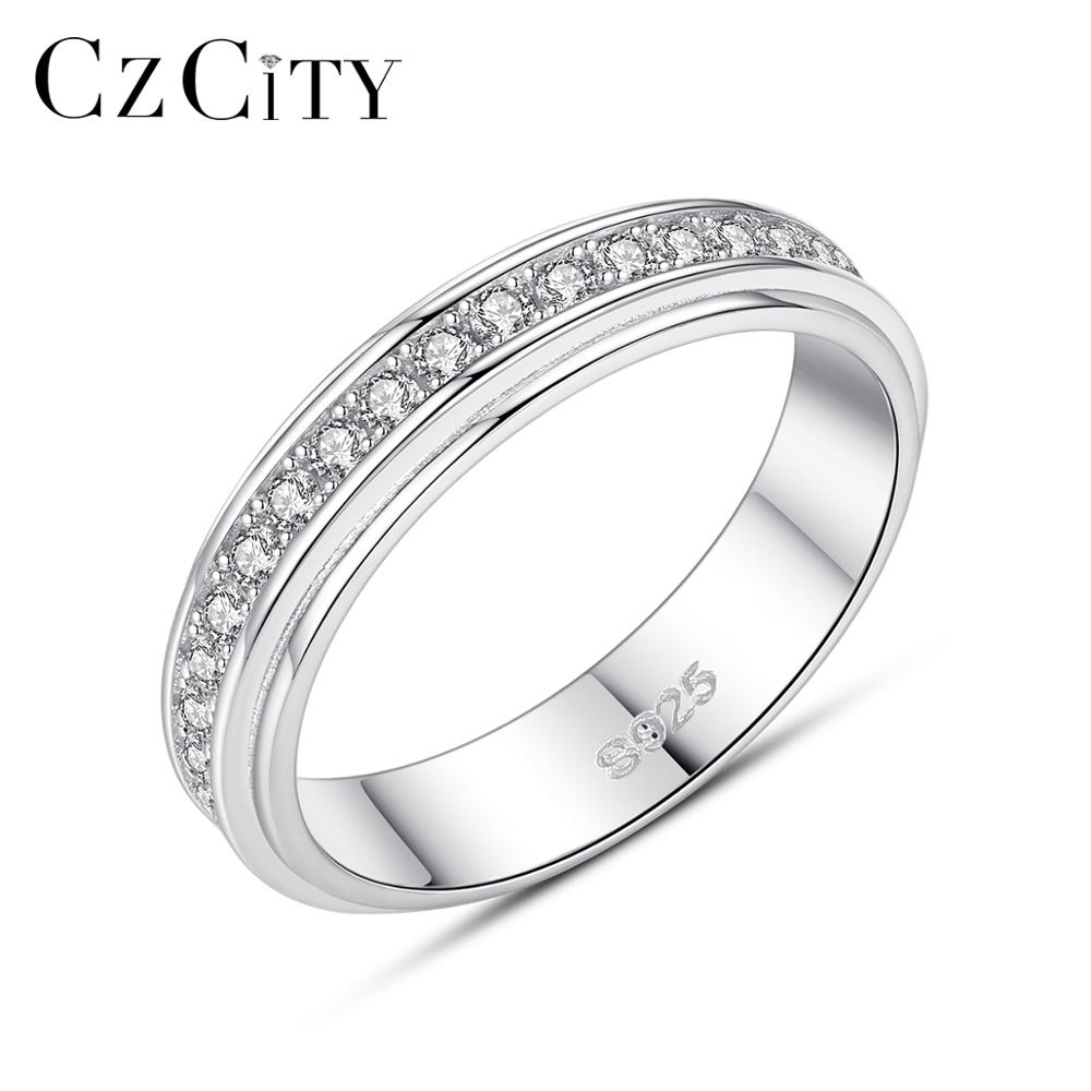 CZCITY Real 925 Sterling Silver Promise Finger Engagement Rings For Women Fine Jewelry Square Cubic Wedding Bands Christmas Gift