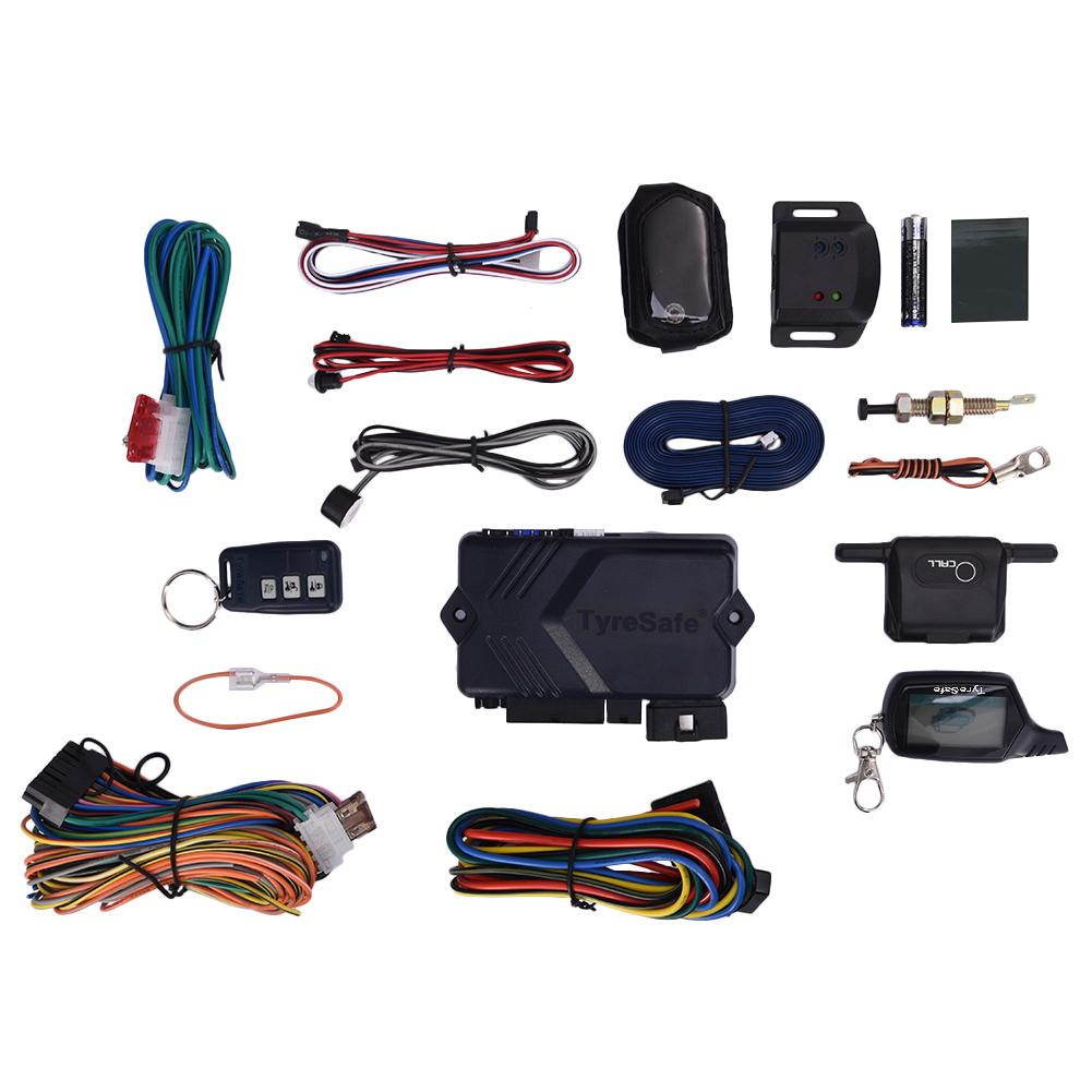 For TYRESAFE B9 Two-way Car Alarm Burglar Alarm System Alarm Remote Control With Start Car Alarm System B9 Russian/English