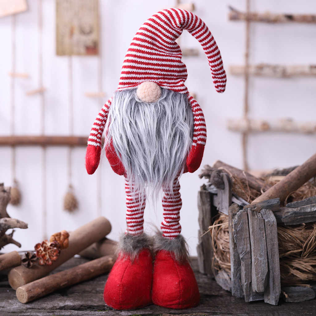 2020 Navidad Año Nuevo Diy Navidad a rayas muñeco sin rostro de pie muñeca en posición artículos de Navidad decoración de la muñeca de Santa Claus #15