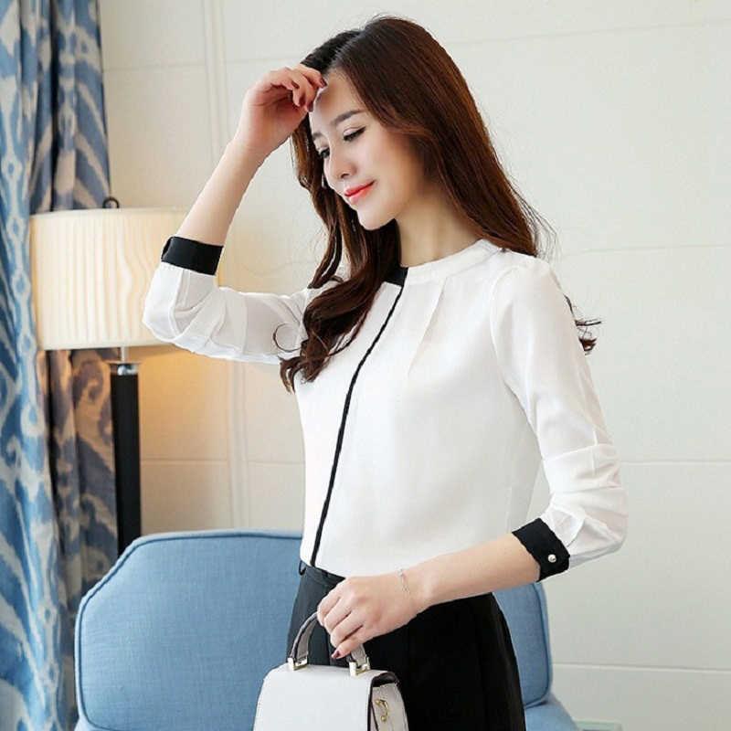 משרד גבירותיי חולצה 2019 קוריאני סגנון אלגנטי לבן שיפון חולצה טלאי Stand צוואר סרבלי עבודת למעלה בתוספת גודל בגדים