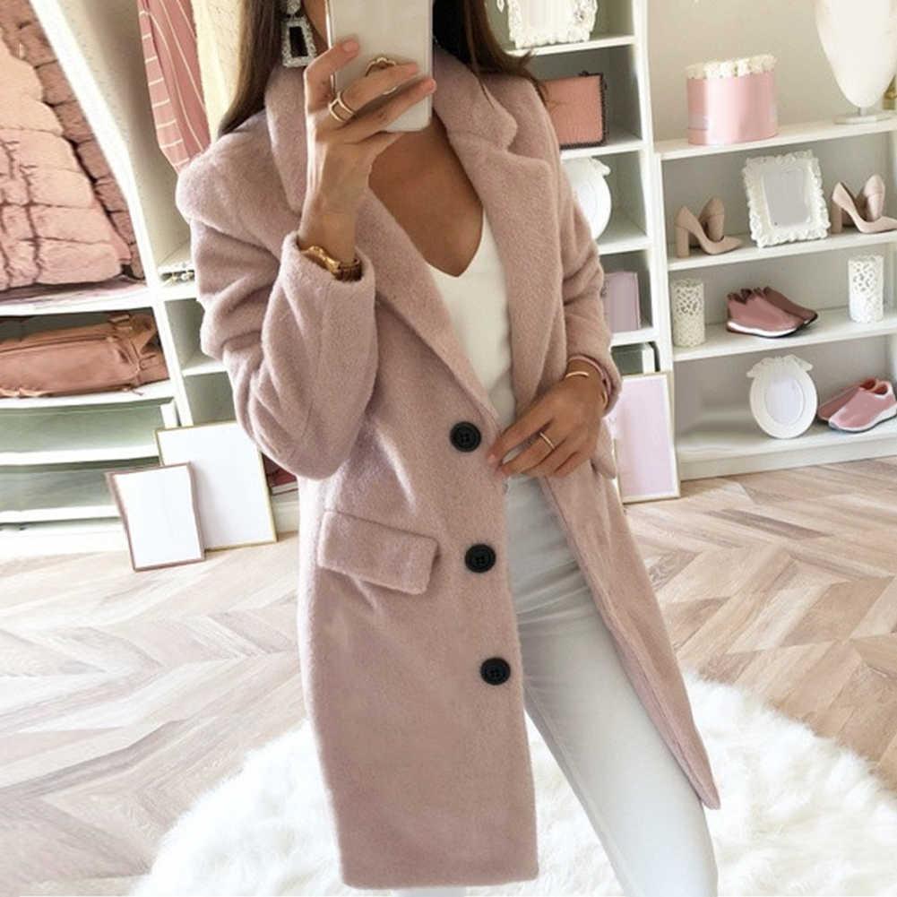 3-5XL China Kode Musim Gugur Musim Dingin Kardigan Lengan Panjang Warna Solid Wanita Kerah Jaket Mantel Pakaian Wanita