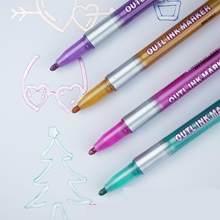 Marqueurs artistiques métalliques Double ligne, 8 couleurs/ensemble, stylo acrylique, papeterie, stylos de dessin artistique, Scrapbooking par Kevin & sasa Crafts
