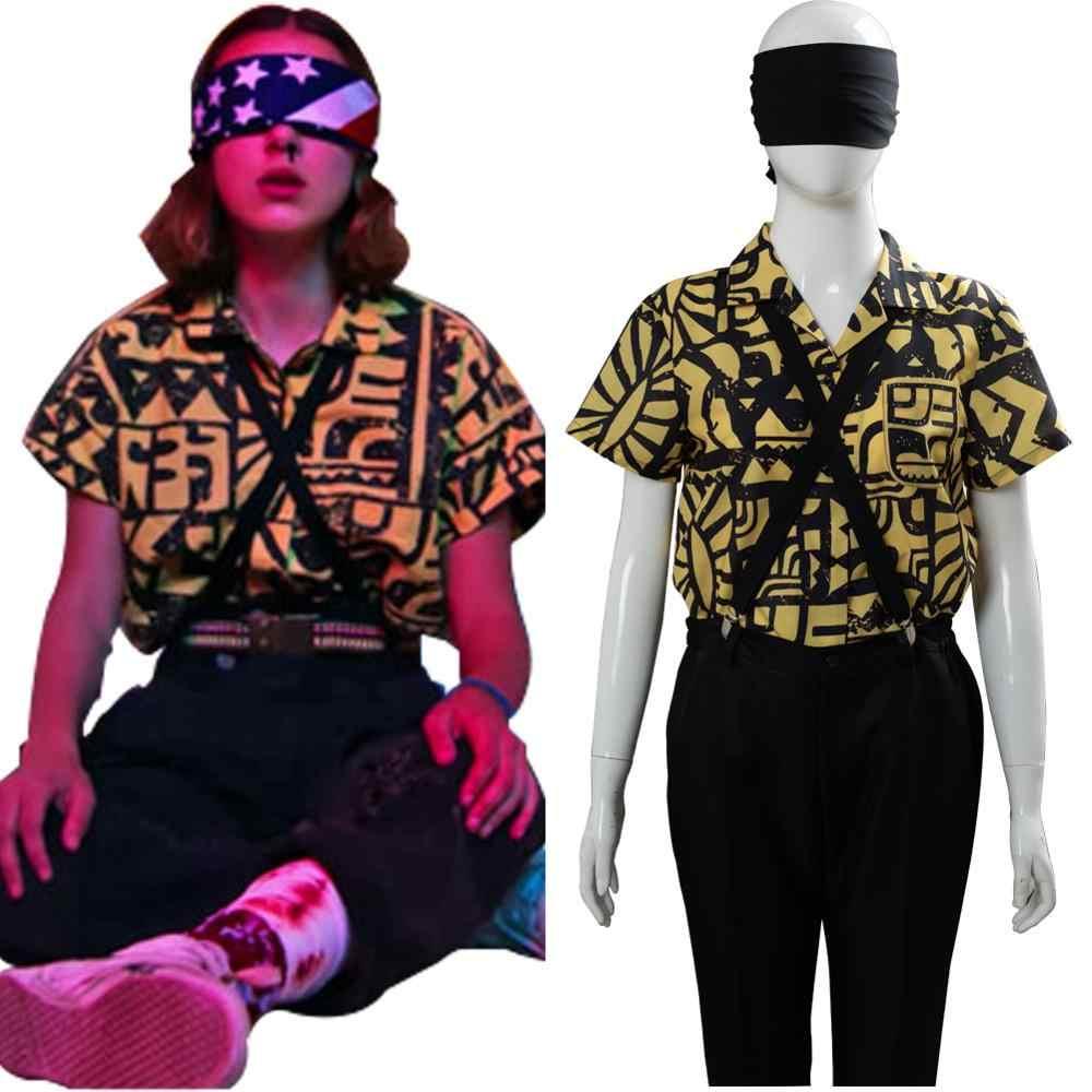 Camisa cosplay de stranger things 3, onze, fantasia cosplay + ocular + tiras para meninas, mulheres, dia das bruxas, carnaval, festa, adereços