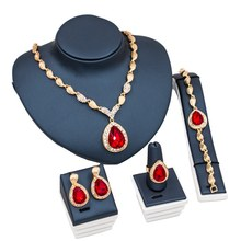 Luxury Crystal Wedding Jewelry Sets For Women Waterdrop Red Rhinestone Necklace Rings Bracelet Earrings Set for Bridal Jewelry(China)