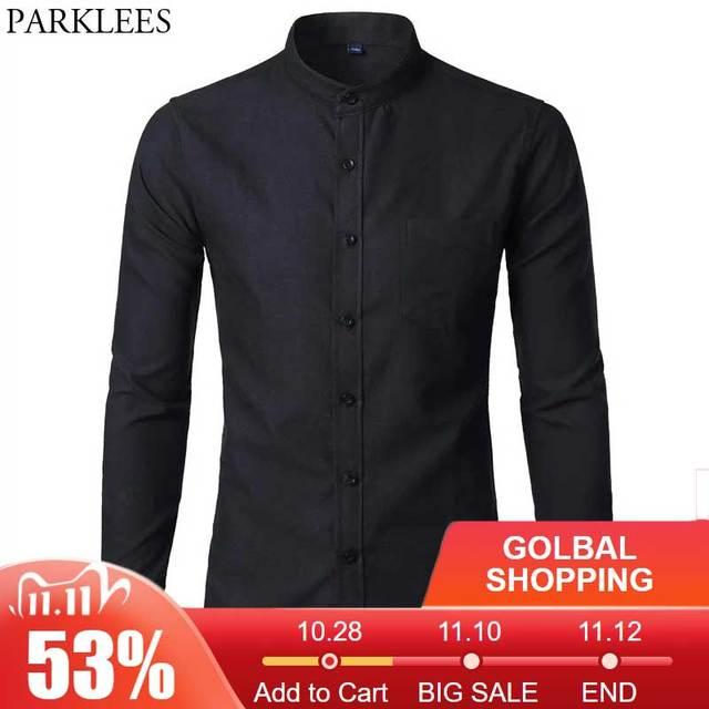 Męska koszulka Oxford Slim dopasowana sukienka marki stójka z długim rękawem koszulka Homme Casual business Office koszula z kieszenią czarna
