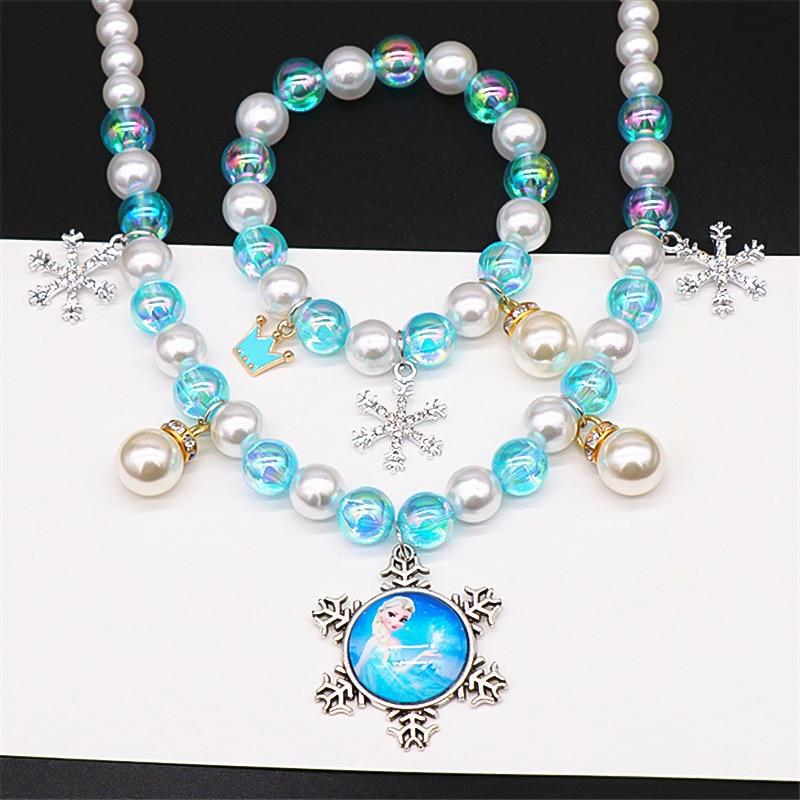 Frozen 2 Children's Toys For Girl Pearl Necklace Bracelet Set Elsa Princess Series Item Kids Baby Accessories Photo Prop Cosplay