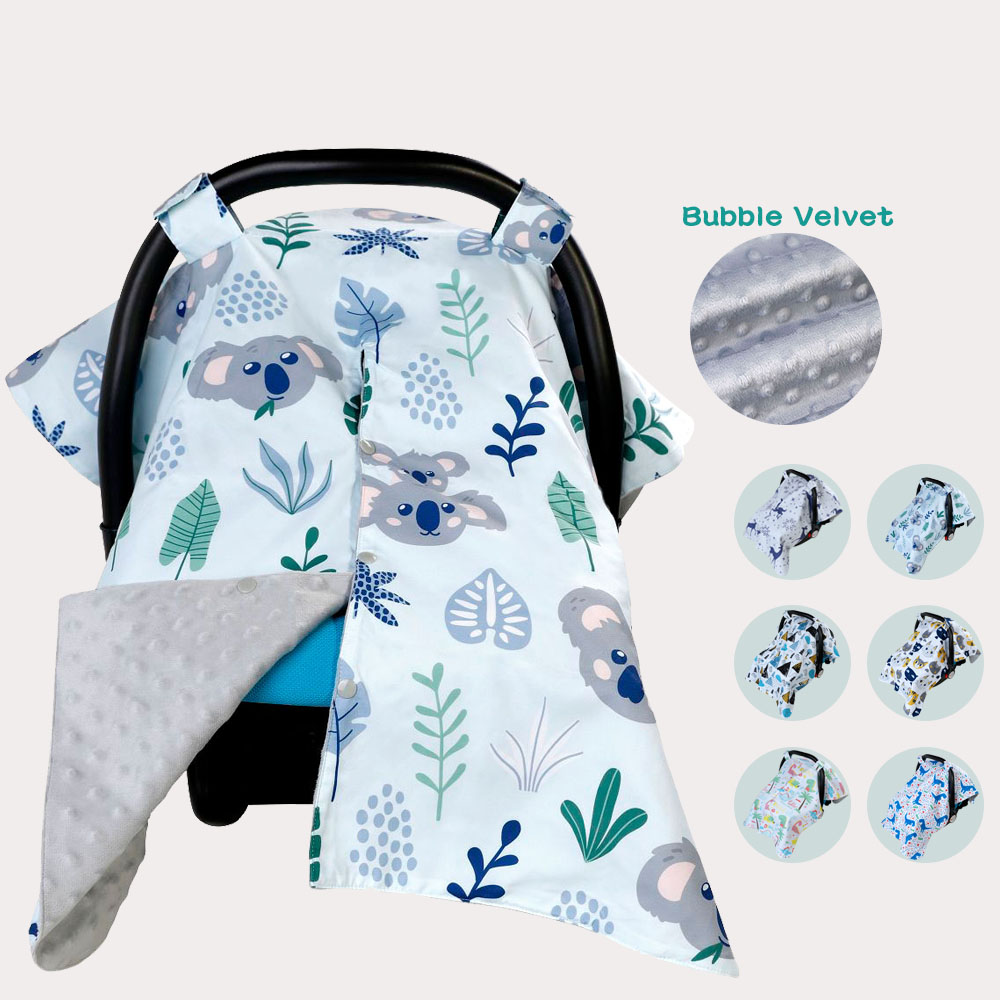 Baby Carseat Canopy Nursing Cover Car Seat Canopy Infant Car Seat Canopy with Soft and Warm Fabric for Breastfeeding Moms