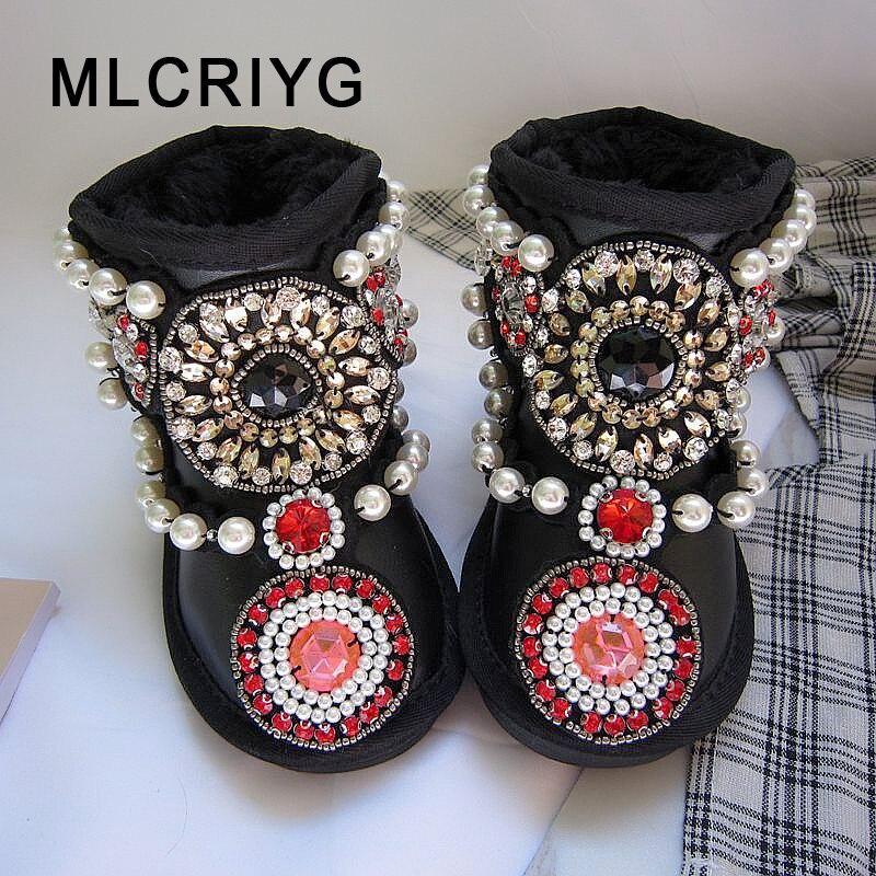 Hiver enfants sans lacet bottes de neige bébé filles strass bottines enfants chaud perle chaussures enfant en bas âge en cuir véritable marque bottes