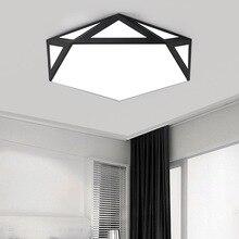 Modern LED ceiling lamp wrought iron hollow black white lamp living room bedroom study chandelier