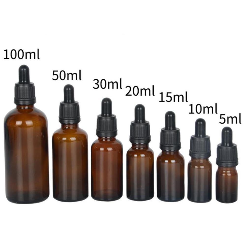 Tea Dark Light Sub-bottle Essential Oil Bottle Perfume Bottle Cosmetic Plastic Head Dropper Bottle Essence Sample Glass Bottle