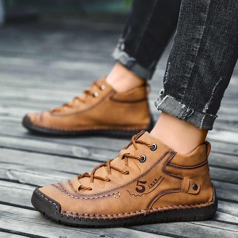 Retro deri çizmeler Mens rahat ayakkabılar rahat su geçirmez yarım çizmeler erkek kaymaz kış sıcak kürk çizmeler büyük boy düz ayakkabı