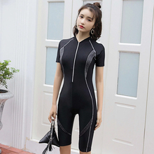 A ladies wetsuit short-sleeved surf clothing quick-drying swimsuit jumpsuit front zipper professional one-piece swimming suit hxby front zipper one piece men swimsuit winter long sleeve male swimsuit professional quick dry sports wear for swimming