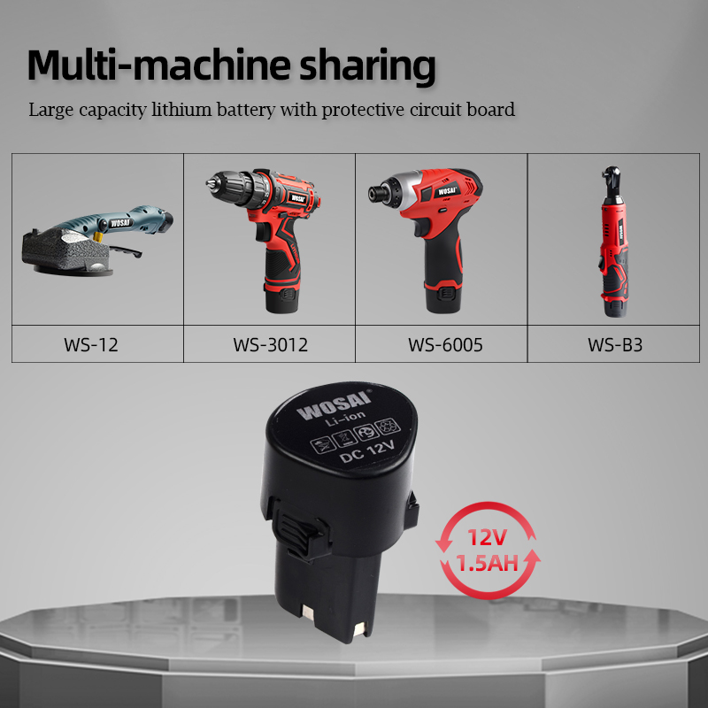 WOSAI 12V Max Electric Screwdriver Cordless Drill Mini Wireless Power Driver DC Lithium-Ion Battery 3/8-Inch 2-Speed Pakistan