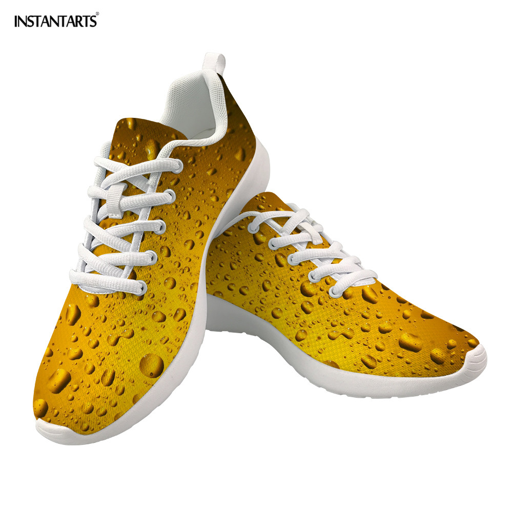 Promo INSTANTARTS Customize Picture 3D Printed Flat Sneakers Women Lace-Up Mesh Beer Shoes Casual Breathable Vulanized Shoes Female