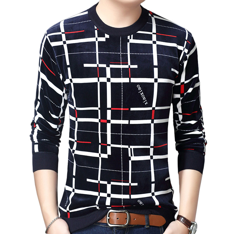 Zogaa 2019 New Designer Pullover Plaid Men Sweater Dress Thick Winter Warm Jersey Knitted Sweaters Mens Wear Slim Fit Knitwear