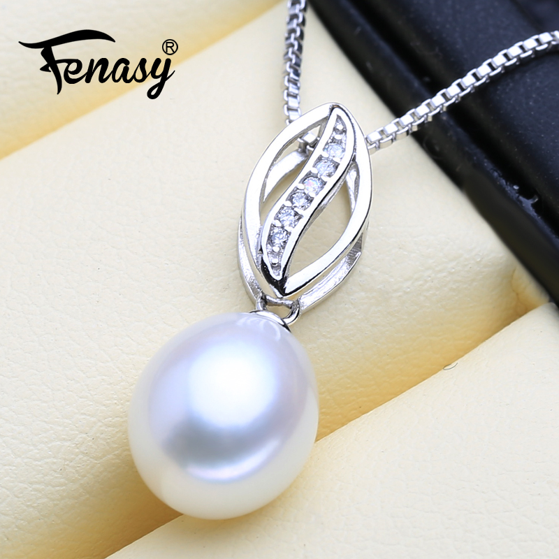 FENASY Freshwater Pearl Pendant Necklace 925-Sterling-Silver Natural Genuine Women