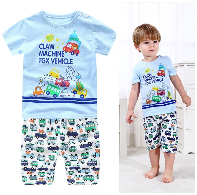 Toddler Baby Boy Kids Short Sleeve Cartoon Plane Pattern Blue Tops T-Shirt Tee Stripe Short Pants Casual Outfits