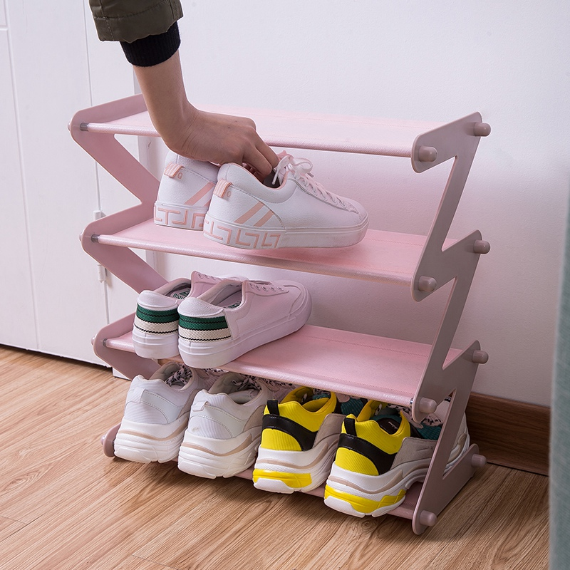 4 Layers Simple Stainless Steel Assembled Shoe Rack Save Space Slippers High Heels Home Dormitory Foldable Multi-Layer Storage