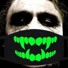 Unisex Stofdicht Mond Gezichtsmasker Glow In The Dark Mode Katoen Party Masker Voor Outdoor Rijden Doek Accessoires Lichtgevende Masker