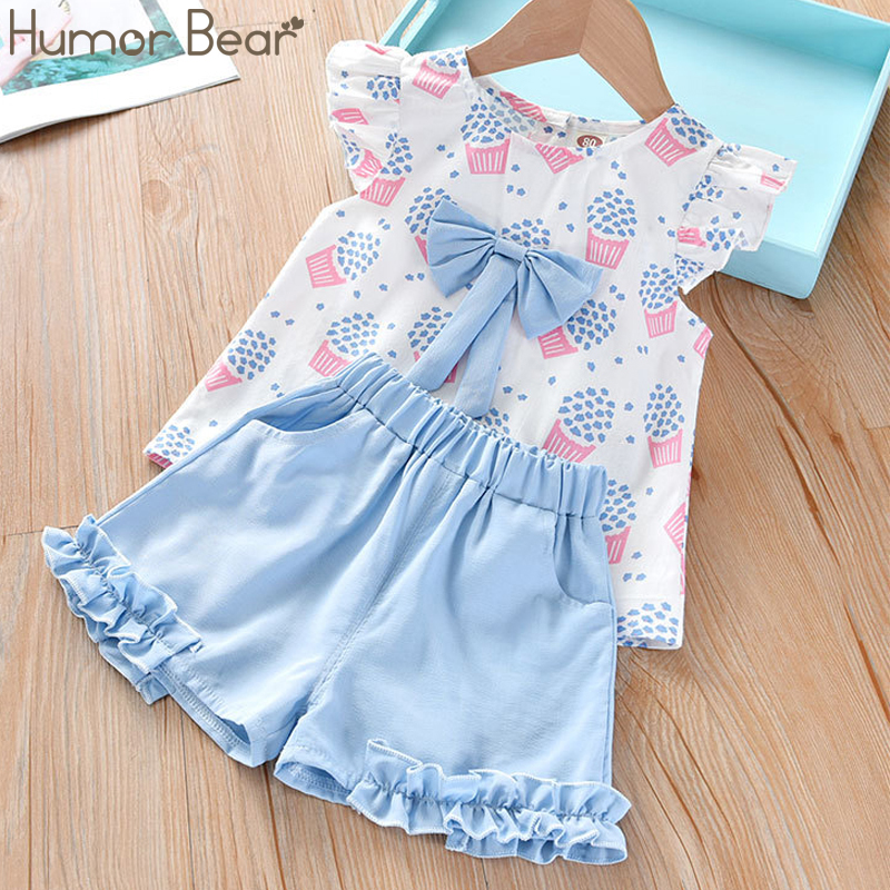 Humor Bear Girls Clothing Set 2020 Korean Summer New Ice Cream Bow Top T-shirt+Pants Kids Suit Toddler Baby Children's Clothes 2