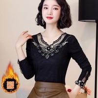 2019 Autumn New Style Velvet Hoodie Slim Fit Style Light Mature Long Sleeve Lace Base Shirt Underwear Thin Shirt