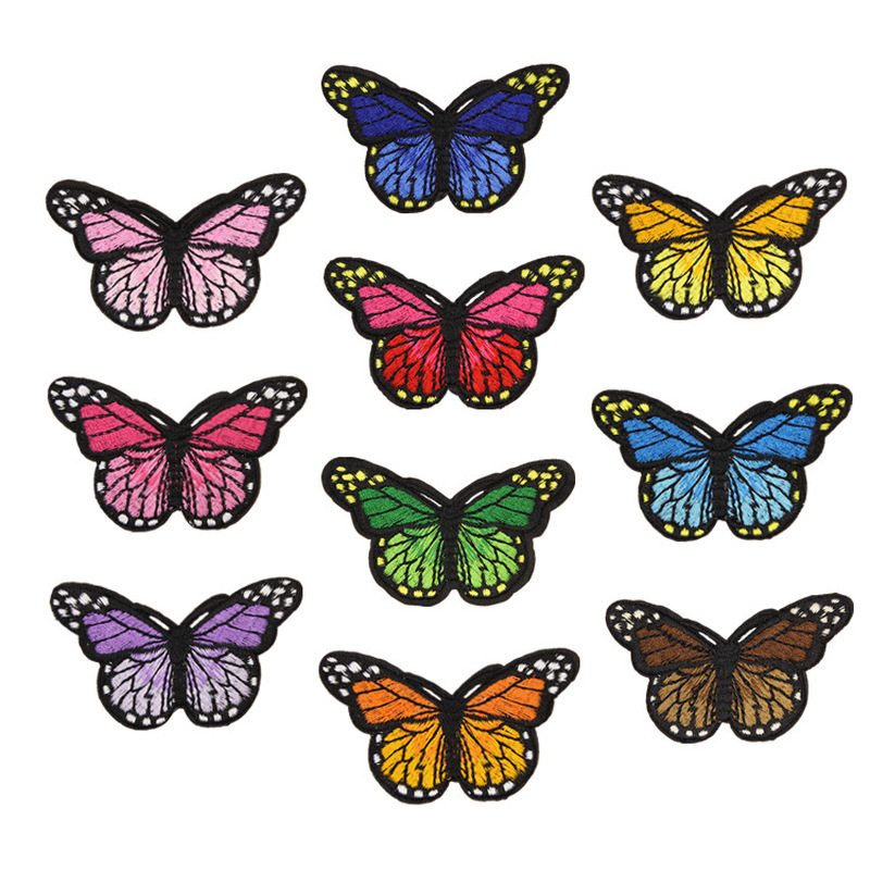 Iron-On-Patches Stickers Clothing Badge Appliques Butterfly Embroidery Mix for Multicolor