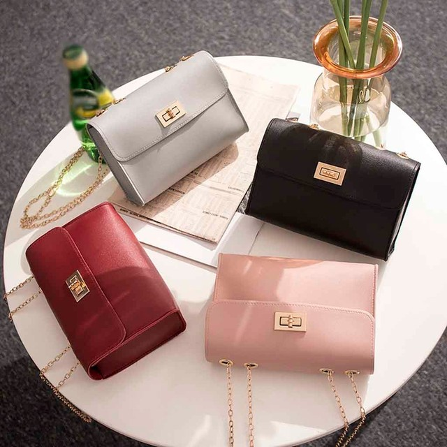 British Fashion Simple Small Square Bag Women's Designer Handbag Pu Chain Mobile Phone Shoulder Bags Bolsas De Mujer #T2P