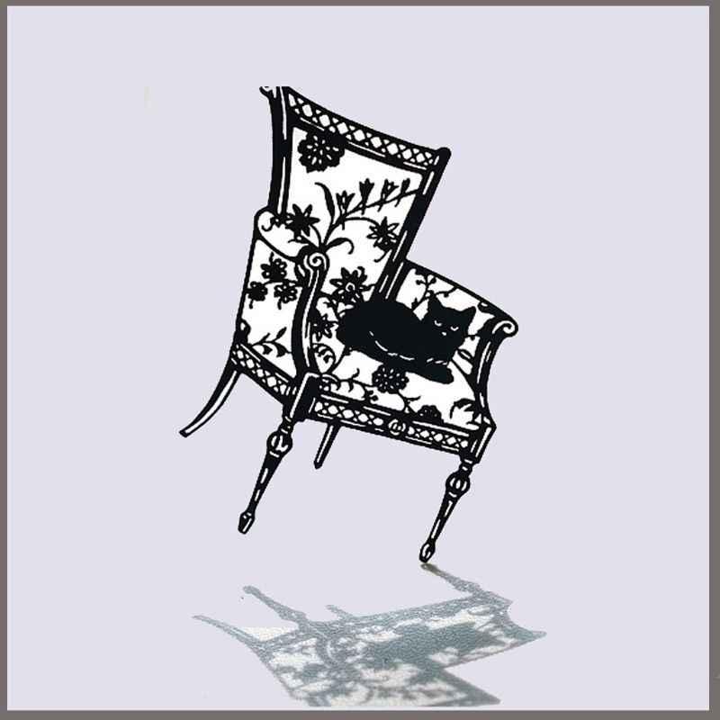 Troqueles de corte de Metal con diseño de gato para silla álbum de Estampillas de papel para álbum de recortes DIY GXMA