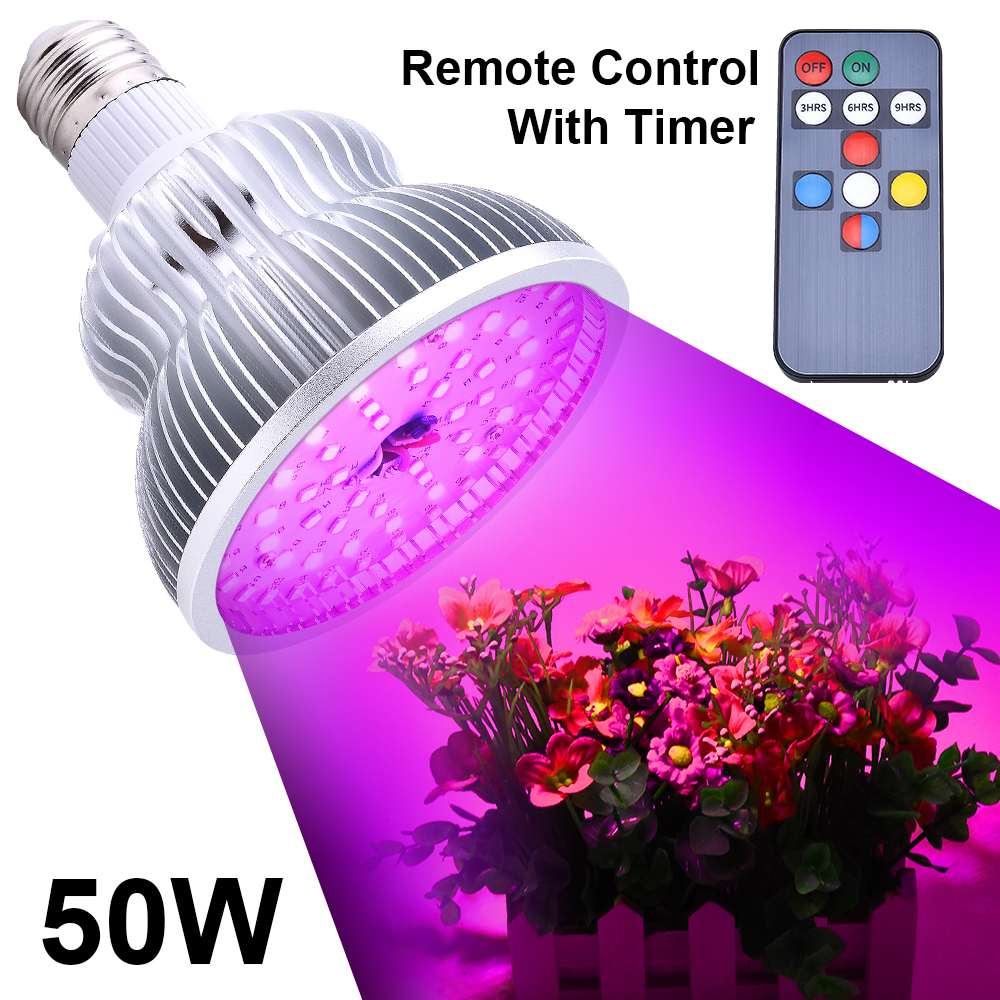 50W LED Plant Grow Light 50W Full Spectrum Timer Function Remote Control Light Bulb For Greenhouse Organic Hydroponics D30