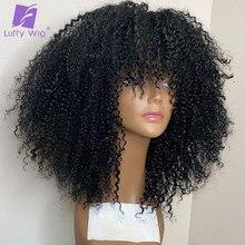 Afro curto kinky encaracolado perucas com franja 200 densidade brasileiro remy cabelo humano máquina feita peruca glueless para preto luffy peruca