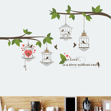Birdcage Tree Branch Love Wall Stickers Living Room Bedroom Accessories Home Decor Mural Wall Art Decals Pattern PVC Creative 3d effect disney cars lightning mcqueen window wall stickers bedroom home decor cartoon wall decals pvc mural art diy posters