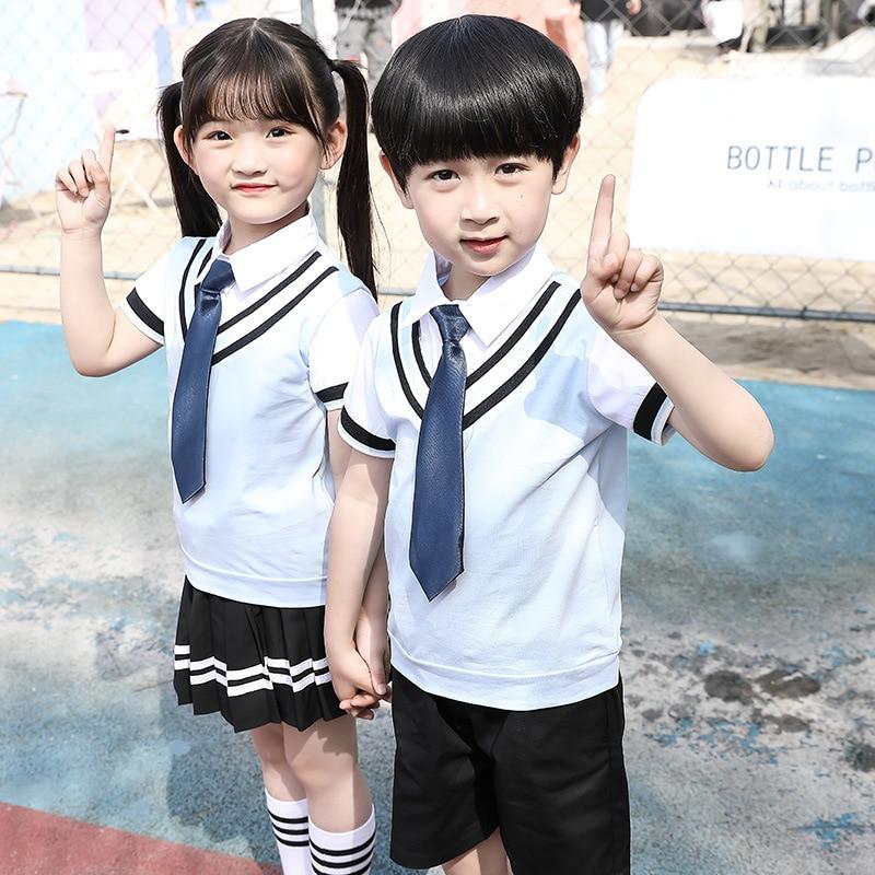 Kindergarten Suit Summer Wear Short Sleeve Set Men And Women Summer Business Attire CHILDREN'S DAY CHILDREN'S Costume Primary Sc