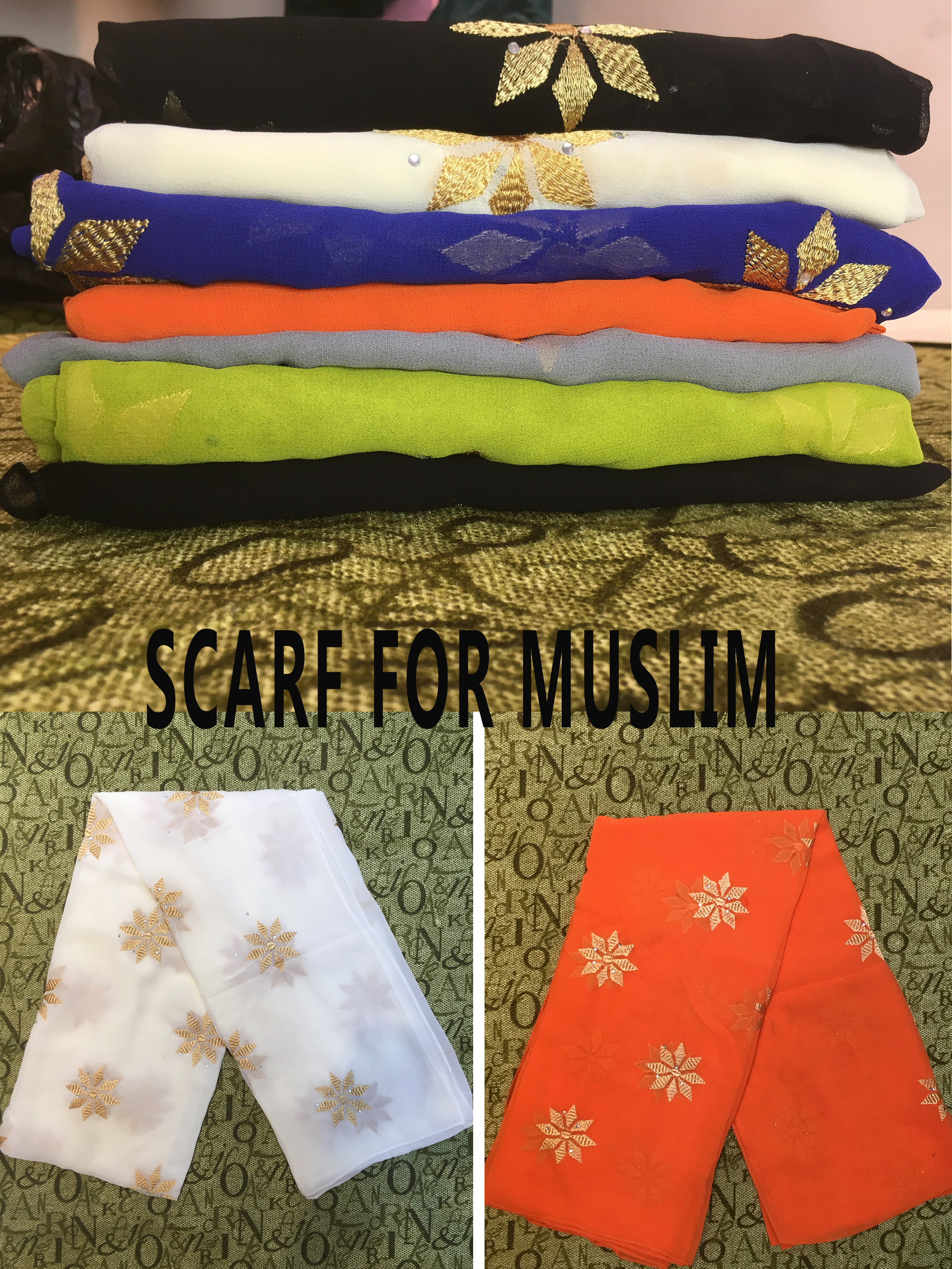 Fashionable Scarf Hijabs Lnner Hijabs Plain African Style  Embroidery  Flower And Set With Diamonds Fabric Chiffon For Lady